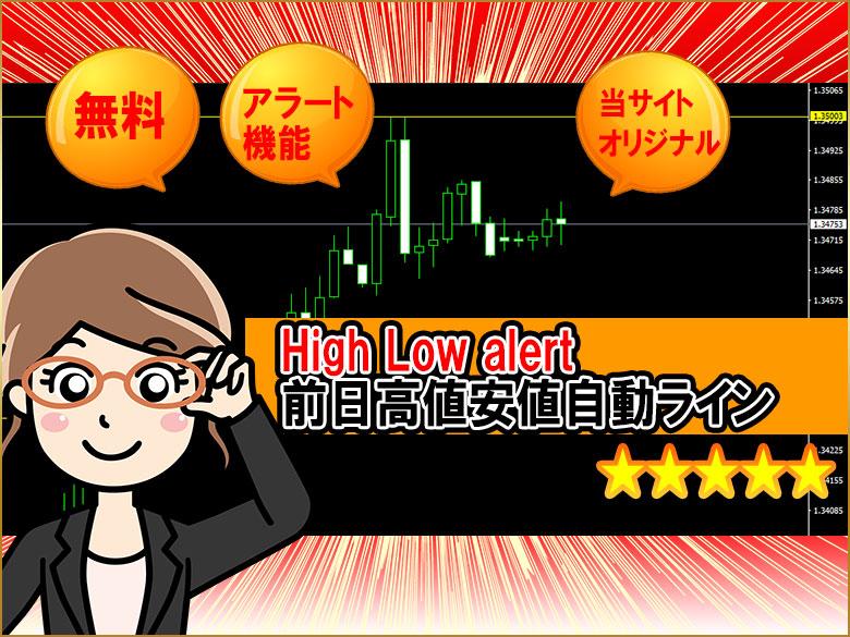 前日高値安値に自動でラインを引いてくれるインジケーター『High Low alert』の紹介